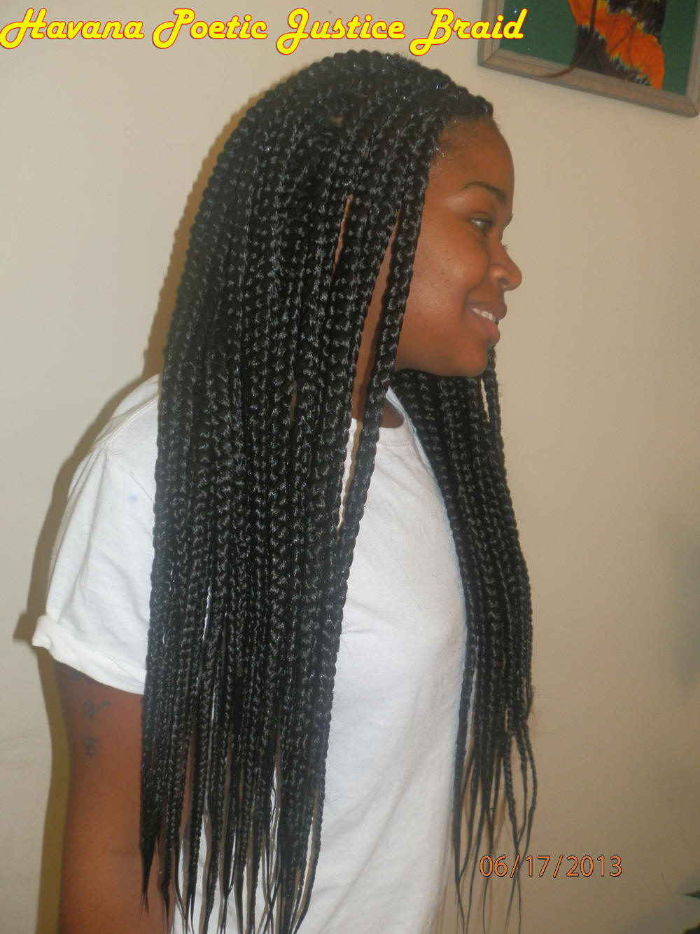 Medium box braids with color